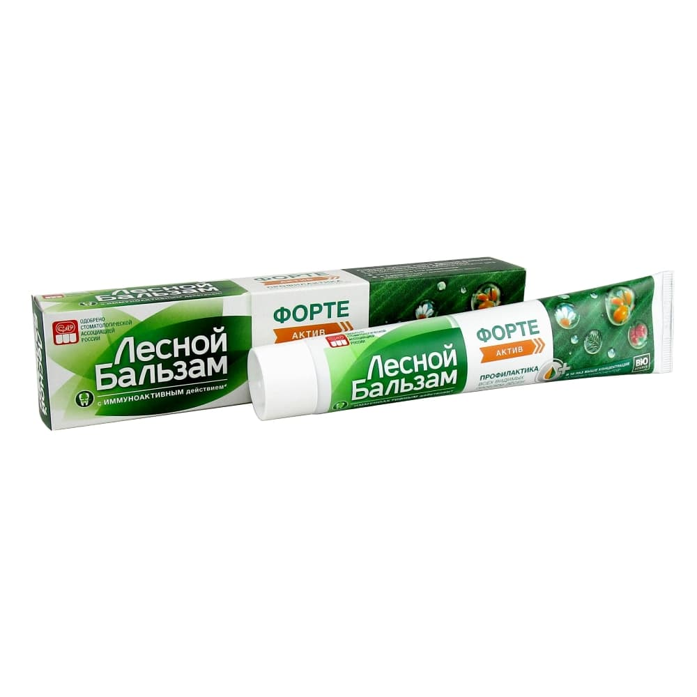 Лесной бальзам зубная паста Форте актив, 75 мл.