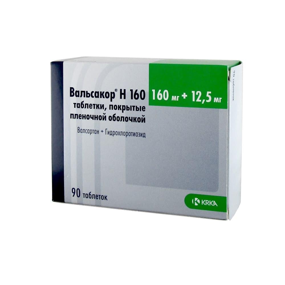 Вальсакор Н160 таблетки п.о. 160 мг + 12,5 мг, 90 шт.