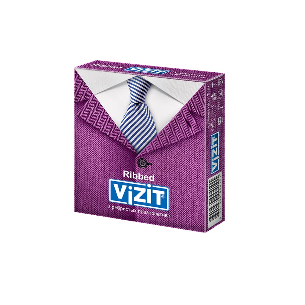 VIZIT Презервативы ребристые, 3 шт.