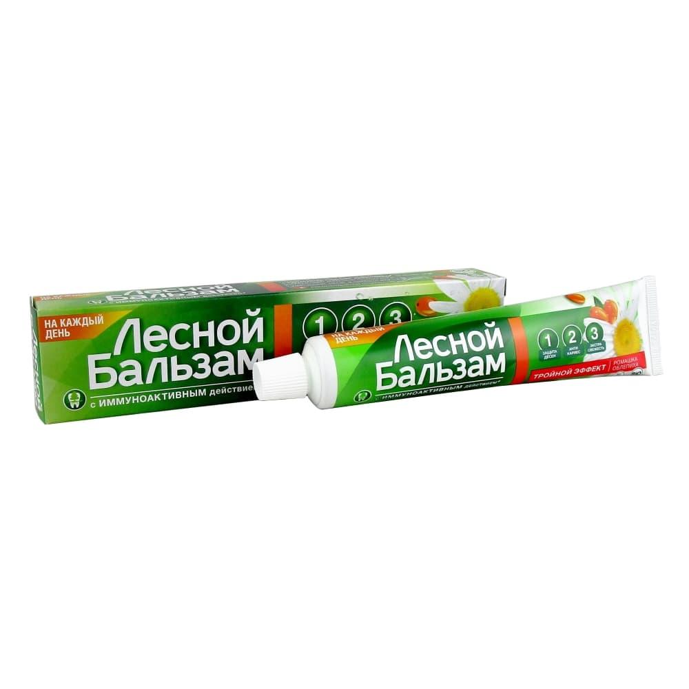 Лесной бальзам зубная паста Тройной эффект Ромашка / облепиха, 75 мл.