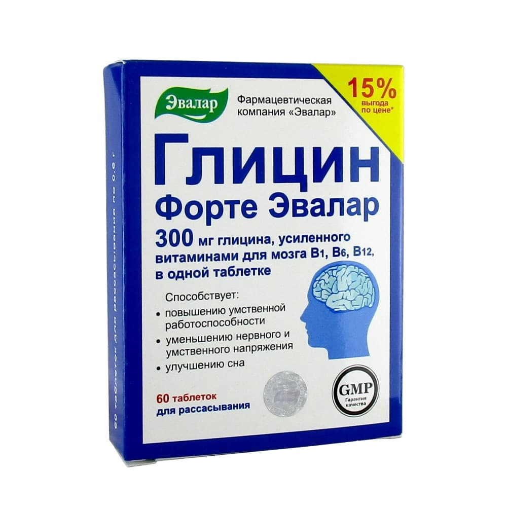Глицин Форте Эвалар таблетки для рассасывания 60 шт.