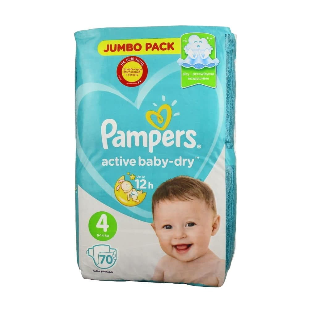 Pampers Active Baby-Dry Maxi 4 подгузники 7-14кг, 70шт.