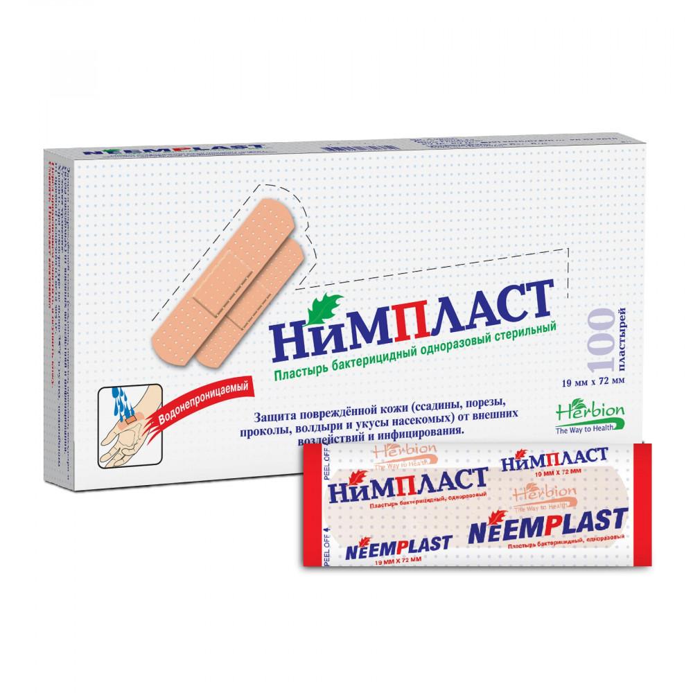 НИМПЛАСТ Пластырь бактерицидный, одноразовый стерильный, 1,9см х 7,2см, 100 шт.
