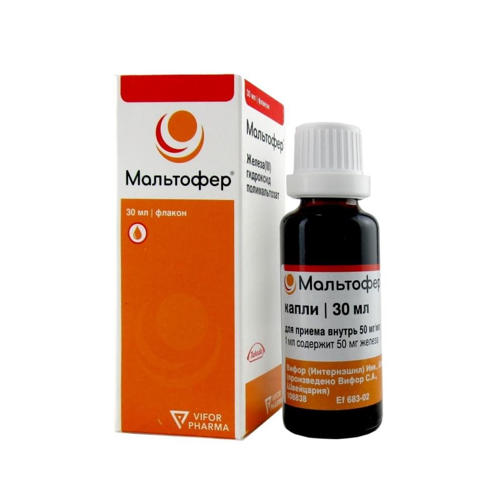 Мальтофер капли для приема внутрь 50 мг/мл, 30 мл