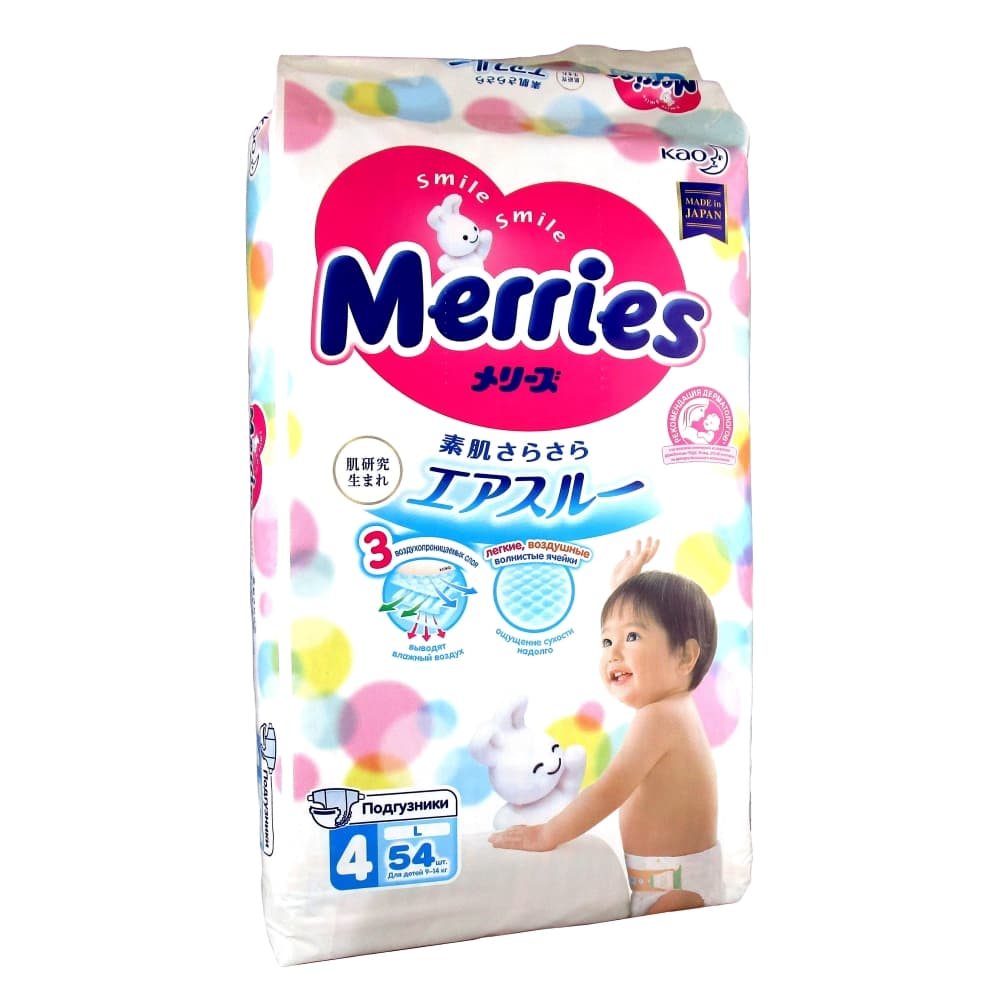 Merries Подгузники детские L 9-14кг, 54шт.