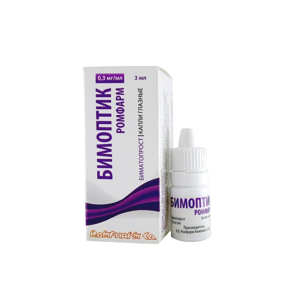 Бимоптик Ромфарм капли глазные 0,3 мг/мл, 3 мл во флак.