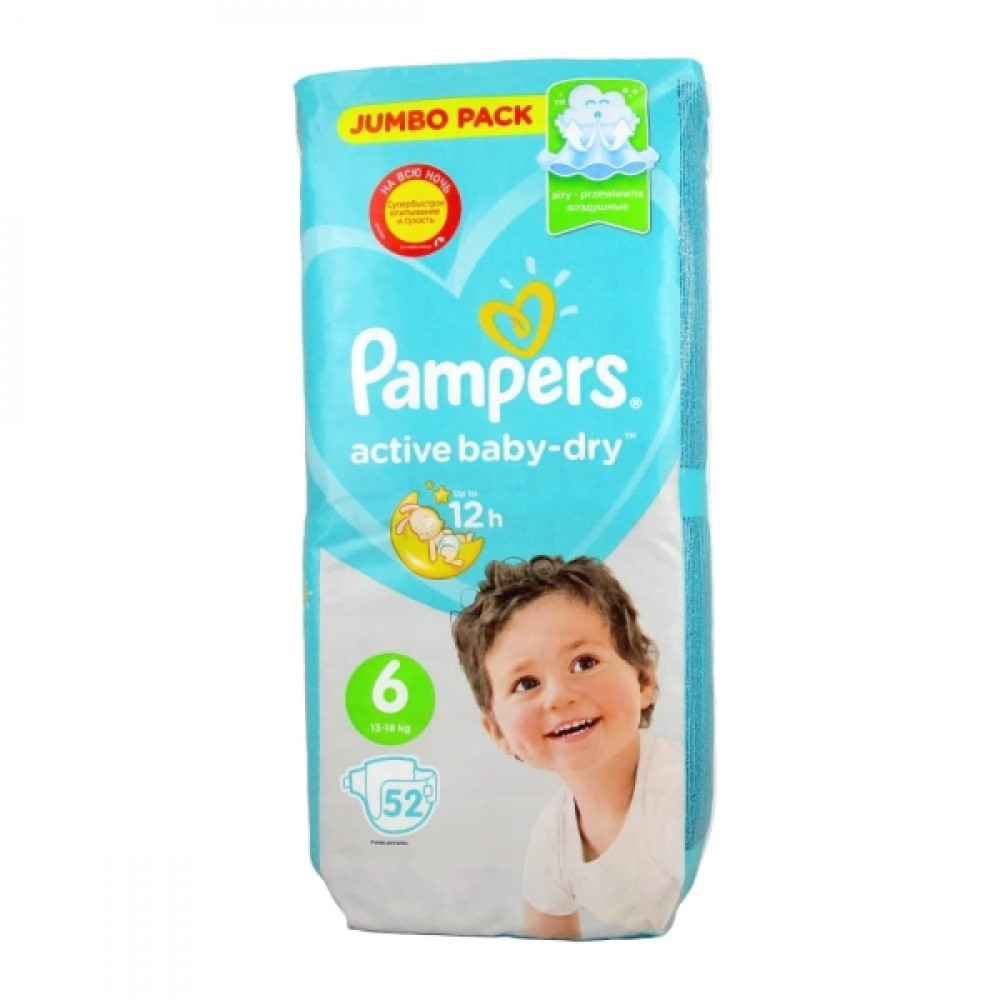 Pampers Active Baby-Dry 6 подгузники 13-18 кг, 52шт.