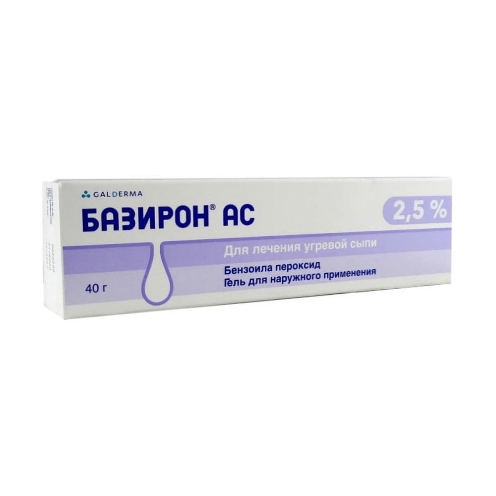 Базирон АС гель для наруж. прим. 2,5%, 40 г.