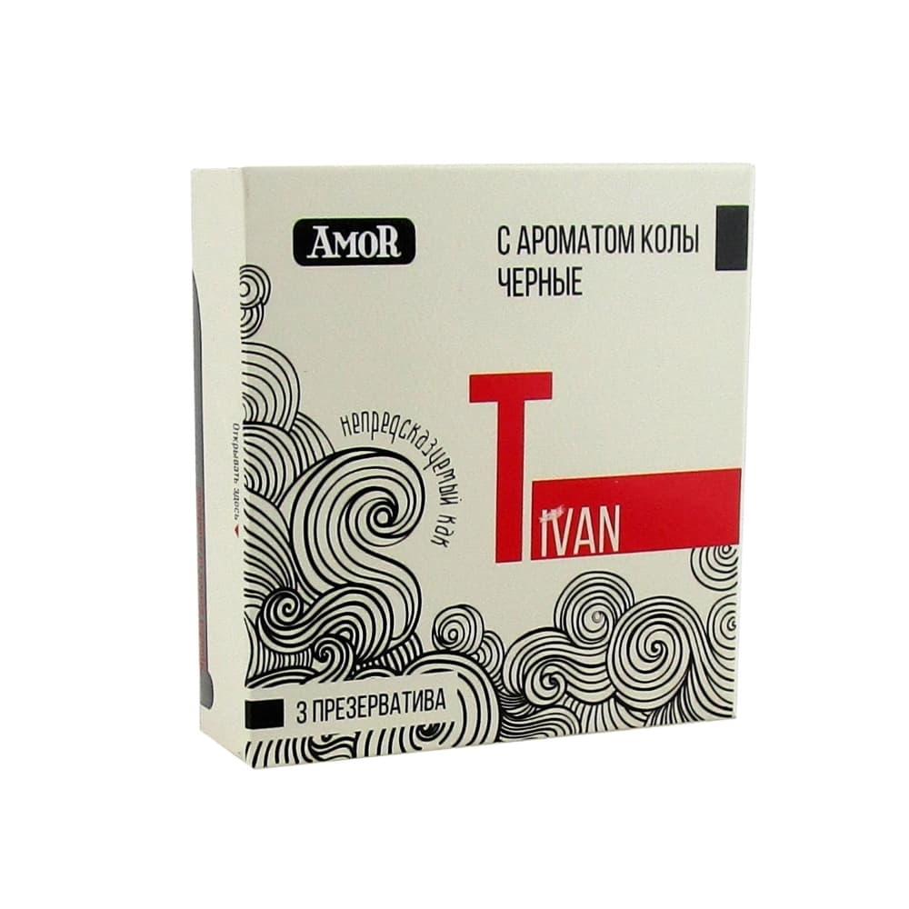 AMOR Презервативы черные с ароматом колы, 3 шт.