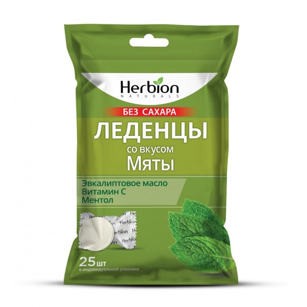 Herbion Леденцы без сахара, Мята, 25 шт