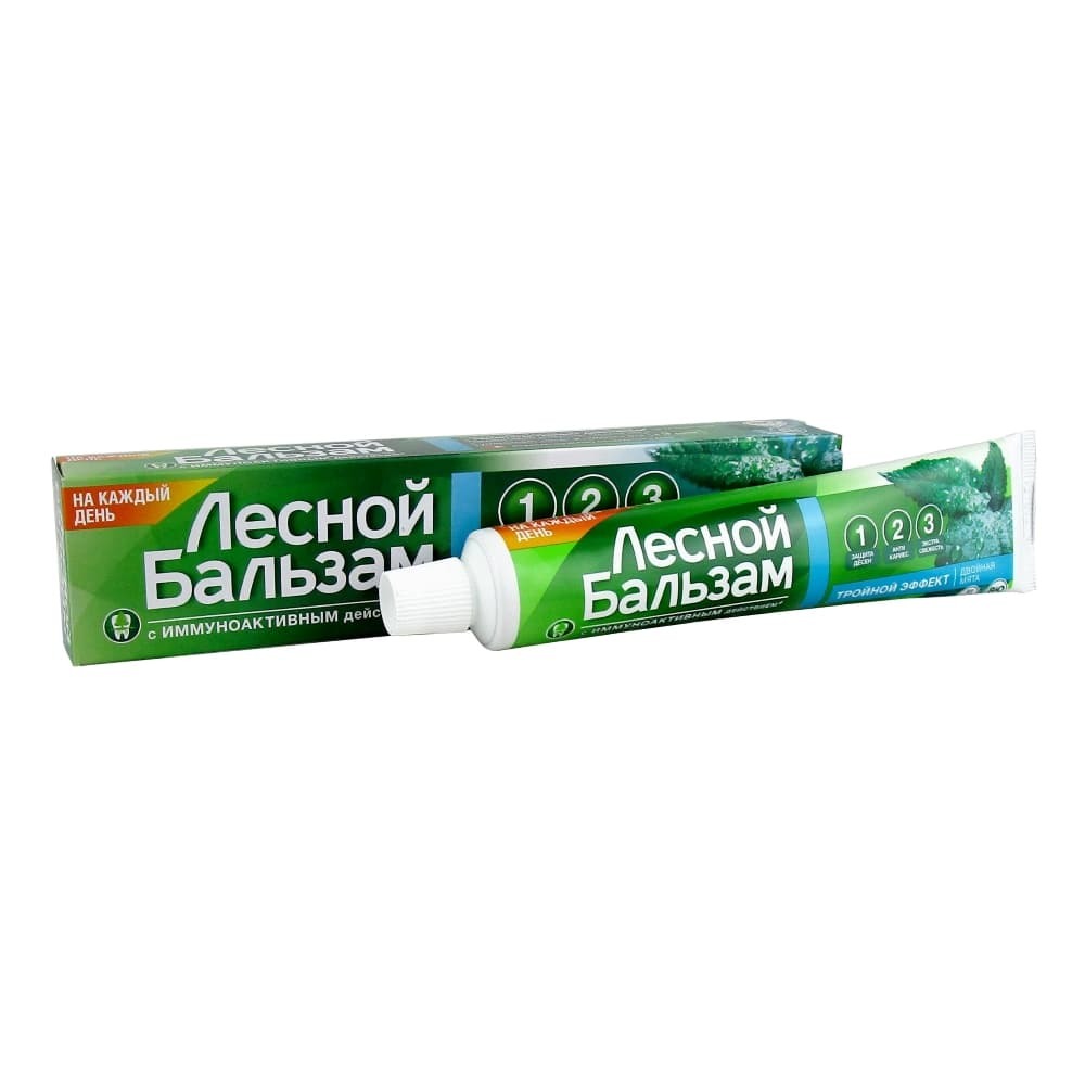 Лесной бальзам зубная паста Тройной эффект Двойная мята, 75 мл
