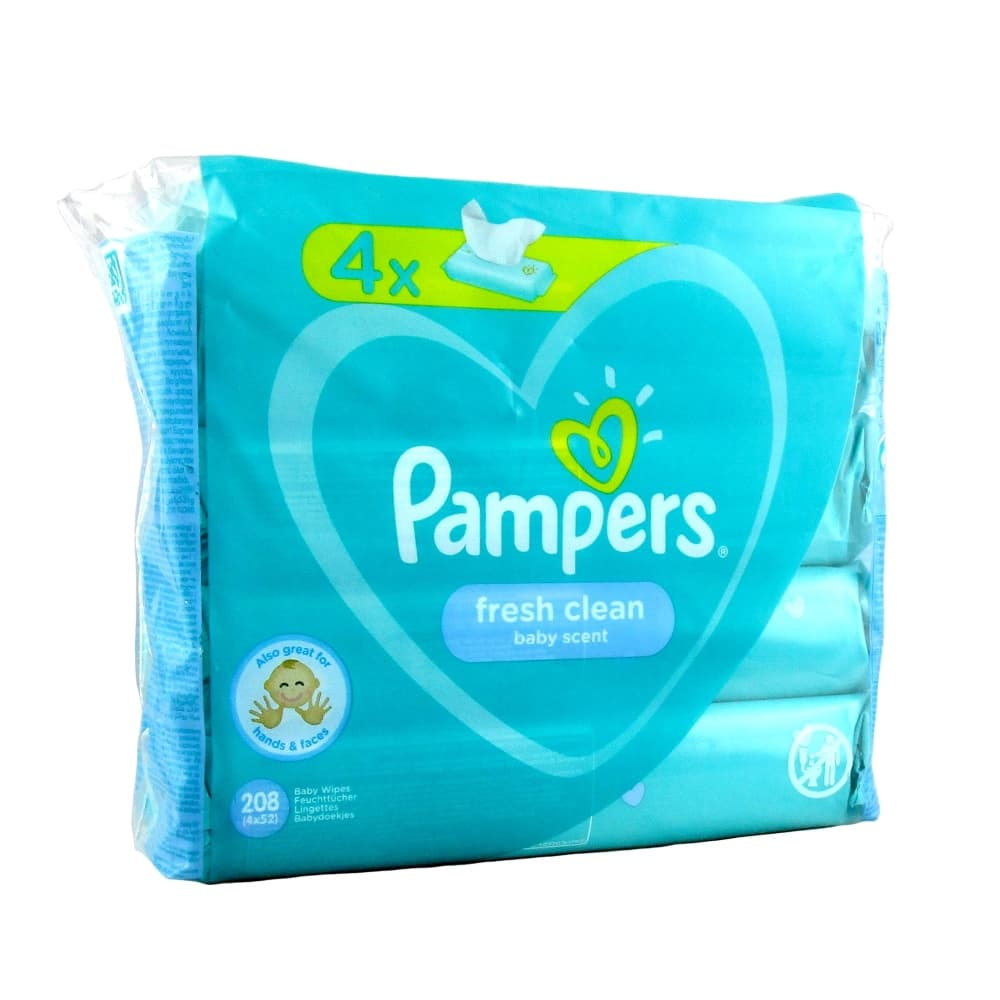 Pampers Fresh Clean Детские влажные салфетки, 4*52шт.
