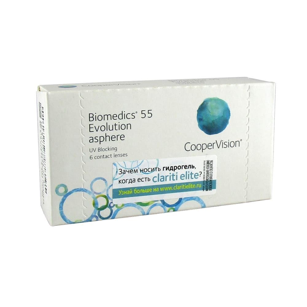 Biomedics 55 Evolution Мягкие контактные линзы плановой замены -1,00, 6 шт.