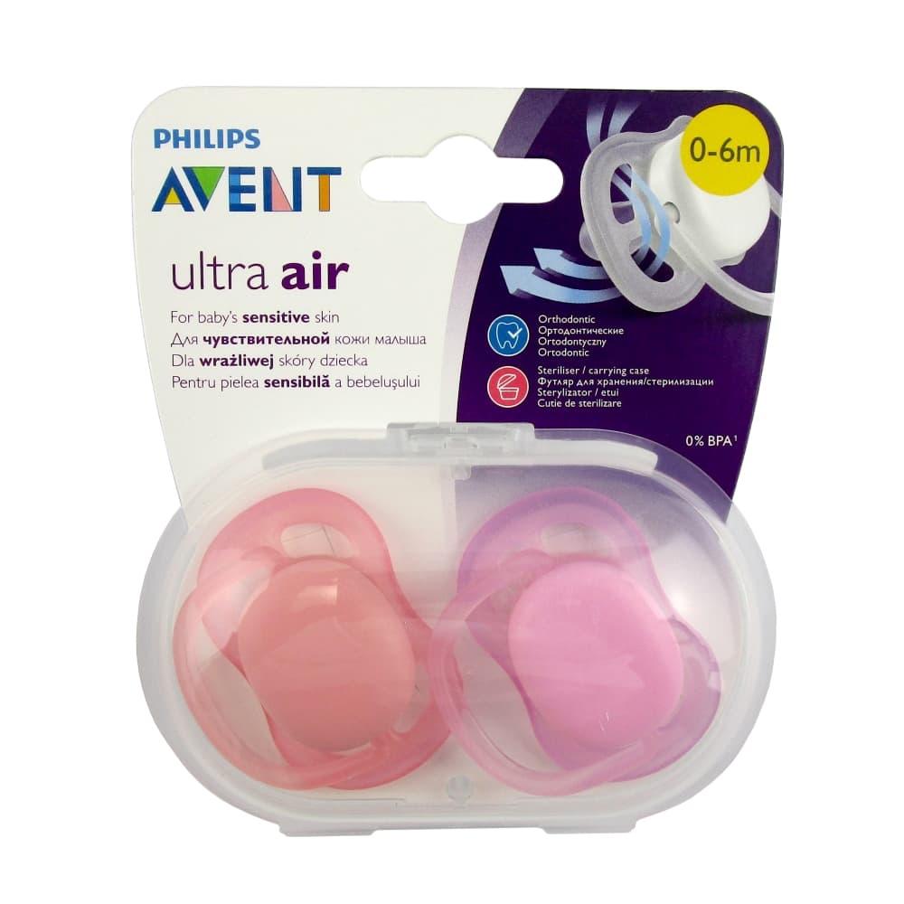 AVENT Ultra air Пустышка силиконовая для девочек 0-6мес 2шт, scf245/20