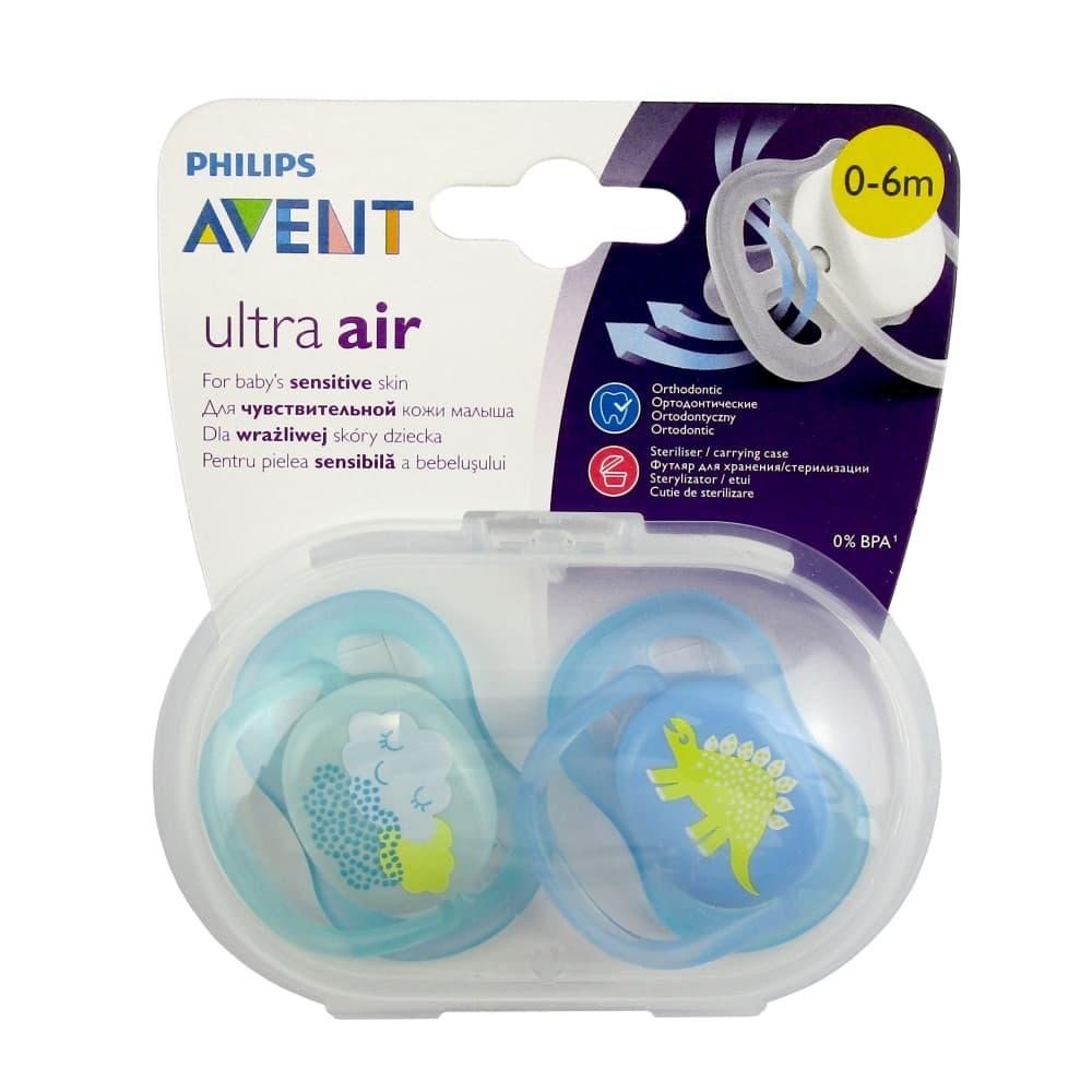 AVENT Ultra air Пустышка силиконовая для мальчиков 0-6мес 2шт, scf344/20