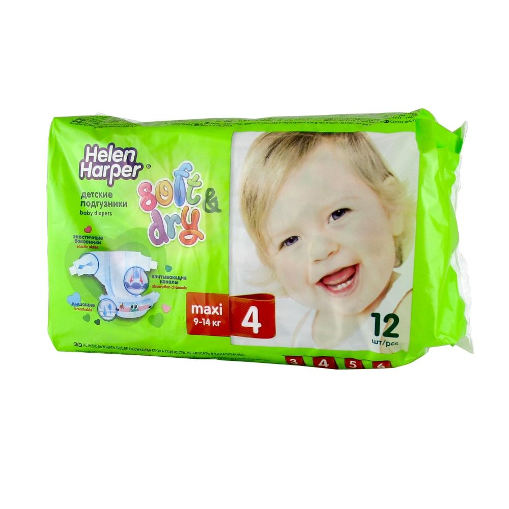 Helen Harper Soft & Dry Подгузники детские 4 Maxi 9-14 кг, 12 шт.