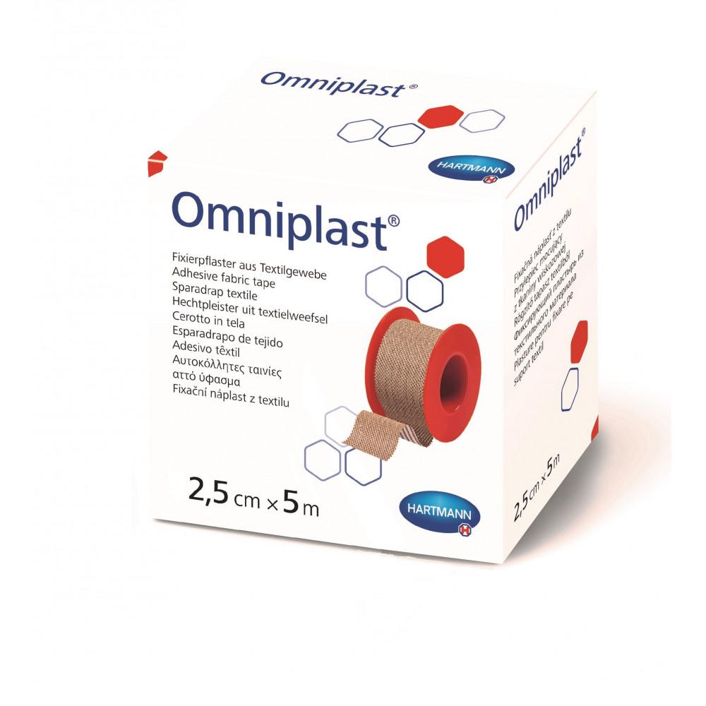 Omniplast Пластырь из текстильной ткани, телесный, 2,5см х 5м, 1 шт.